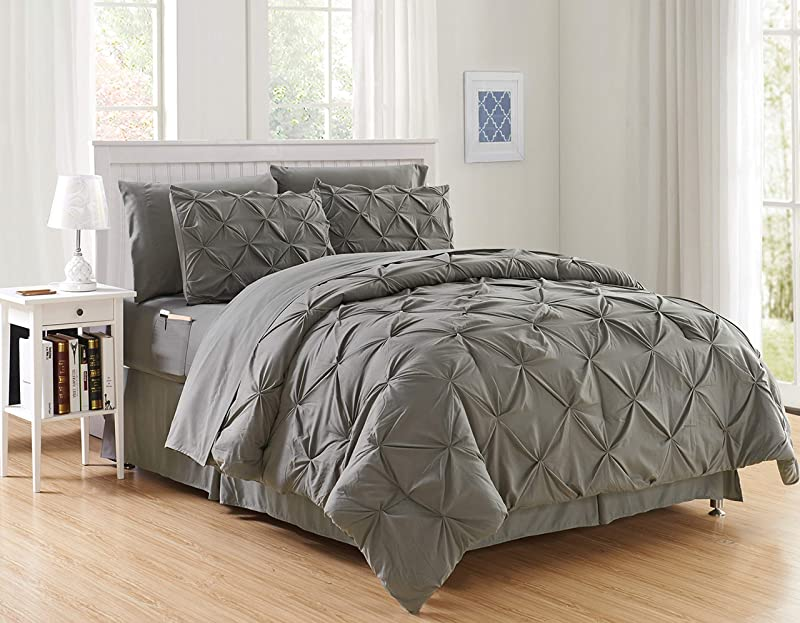 Luxury Best Softest Coziest 8 Piece Bed In A Bag Comforter Set On Amazon Elegant Comfort Silky Soft Complete Set Includes Bed Sheet Set With Double Sided Storage Pockets King Cal King Gray
