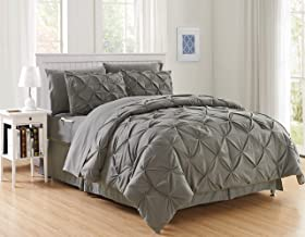 Elegant Comfort Luxury Best, Softest, Coziest 8-Piece Bed-in-a-Bag Comforter Set on Amazon Silky Soft Complete Set Includes Bed Sheet Set with Double Sided Storage Pockets, King/Cal King, Gray