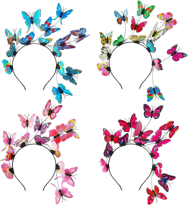 4 Pieces Butterfly Fascinator Hat Monarch Derby Headband Halloween Costume Boho Wedding Headpiece