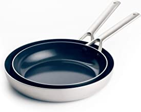 "Blue Diamond Triple Steel Diamond-Infused Ceramic Nonstick, Frying Pan Set, 9.5"" and 11"", Silver"