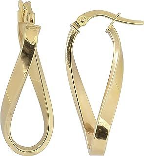 Kooljewelry 14k Gold High Polish Twisted Oval Hoop Earrings (yellow gold or rose gold)