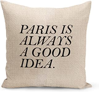 Paris Beige Linen Pillow with Black Foil Print Paris is a good idea Couch Pillows