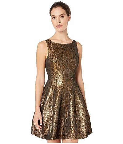 Halston Fit and Flare Metallic Jacquard Dress (Antique Gold) Women