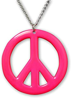 Real Metal Hot Pink Hippie Peace Sign Pendant Necklace Enamel on Pewter Cosplay Jewelry