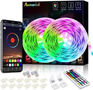 32.8ft LED Strip Lights, 16 Million Colors RGB Tape Light, Bluetooth App Controller + 44Key RF Remote, Music Sync & Built-...