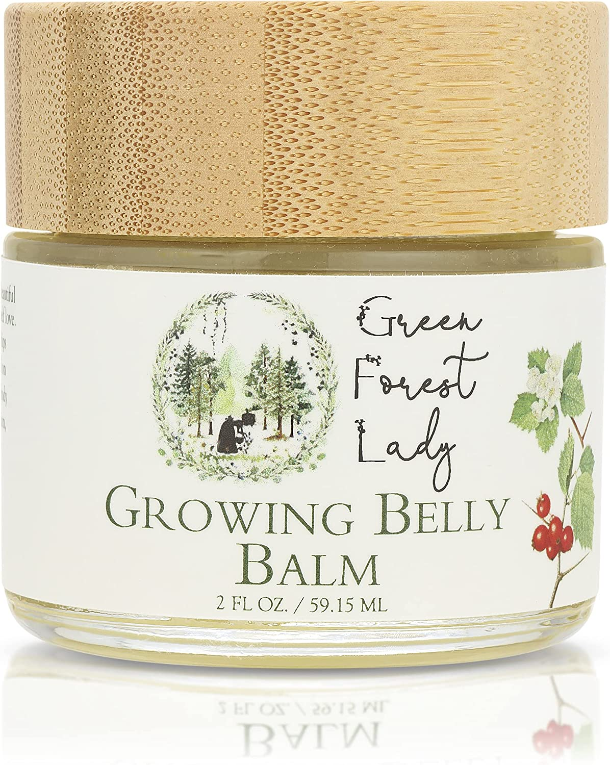 Green Forest Lady Growing Belly Balm Organic, Herbal. Help Prevent Stretch Marks, Improve Elasticity, Soothes Itching Skin, Moisturizing, for Belly, Breasts, Hips and Thighs.