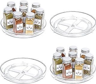 Vtopmart Lot de 4 plateaux de rangement transparents Lazy Susan pour armoires de cuisine, comptoir, salle de bain, maquill...
