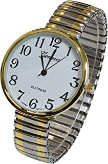 2Tone Large Face Geneva Stretch Band Women's Watch