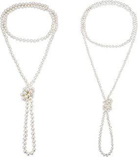 1920s Created Pearl Long Necklace Flapper Beads Necklace for Women 2 Pcs 6mm 8mm