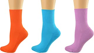 Sierra Socks Colorful Diabetic Arthritic Womens Ankle Cushioned Sole Smooth Toe 3 Pair Pack
