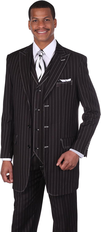 Milano Moda Men's 3pc Gangster Pin-Striped Three Button Suit 5903 w/Vest (42L, Black/White)