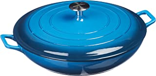 AmazonBasics Enameled Cast Iron Covered Casserole Skillet, 3.3-Quart, Blue
