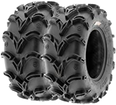Pair of 2 SunF A050 AT 25x10-12 ATV UTV Deep Mud Terrain Tires, 6 PR, Tubeless
