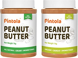 Pintola All Natural Peanut Butter (Creamy) (1 kg) (Unsweetened, Non-GMO, Gluten Free, Vegan) + Pintola Organic Peanut Butt...
