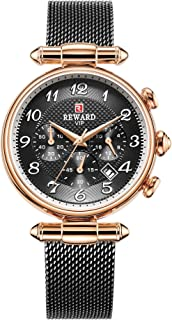 REWARD Japanese Quartz Women Wrist Watch with Calendar,Waterproof,Stainless,Fashion Design for Female