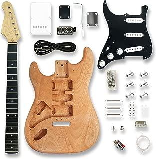 DIY Left-handed Electric Guitar Kits for ST Electric Guitar, okoume Body, Black Pickguard,