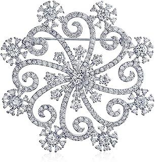 Bling Jewelry Grande Inverno Vacanze Swirl CZ Zirconi Cubici Sciarpa Natale Fiocco Neve Spilla Pin Donne La Piastra Argent...
