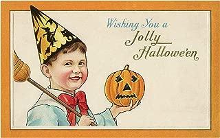 Little boy Holding a Small Jack-o-Lantern Vintage Halloween Pumpkin Metal Tin Sign 8X12 Inch