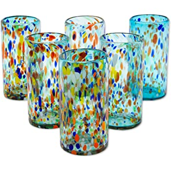 252662 NOVICA Hand Blown Multicolor Recycled Glass Tumbler Glasses 10 oz set of 6 10 oz /'Confetti Festival/' set of 6 Confetti Festival