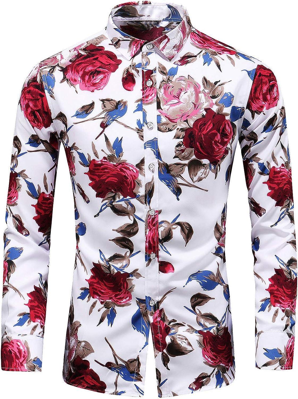 54a5f633 LEFTGU Men's Slim fit Floral Floral Floral Printed Long-Sleeve Button-Down  Dress Shirt 6fd073