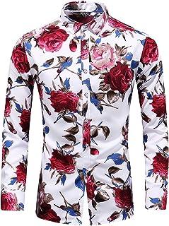 LEFTGU Men`s Slim fit Floral Printed Beach Hawaiian Button-Down Dress Shirt