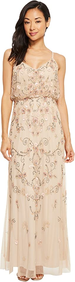 Adrianna Papell - Petite Antique Bead Blousson Slip Dress