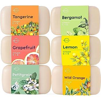 O Naturals 6 Pc Citrus Bar Soap Collection. Vegan Body Soap. Organic Ingredients. Acne Face Cleanser Vitamin E & C Soap, Moisturizing Natural Soap Creamy Lather Triple Milled Gift Set Women & Men 4oz