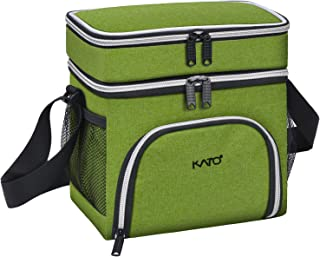 Kato Insulated Lunch Bag, Leakproof Bento Cooler Lunch Box Tote, Dual Compartment Thermal Lunch Bag with Shoulder Strap for Men & Women, Oxford Cloth, Green