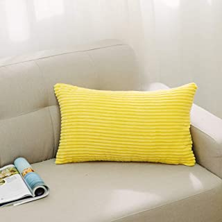 NATUS WEAVER Striped Corduroy Rectangle Throw Pillow Cover Cushion Cover for Toddler/Kids/Nursery, 12