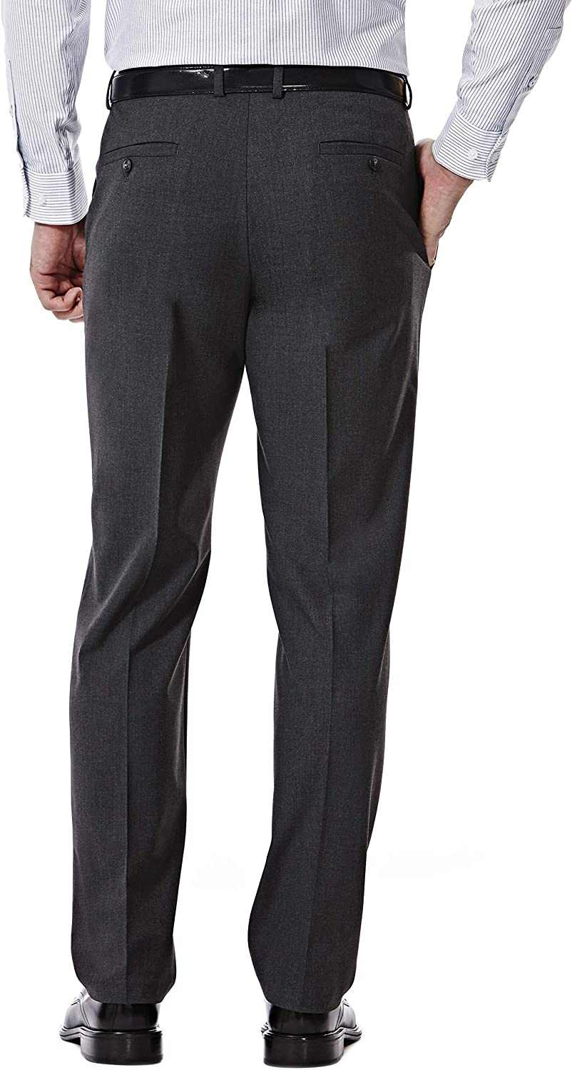 J.M. Haggar 4-Way Stretch Solid 2-Button Slim Fit Suit Separate Coat, Charcoal Heather, 46R with Separate Pant, Charcoal Heather, 34Wx30L