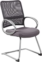 Boss Office Products B6419-CG Mesh Back Guest Chair with Pewter Finish in Charcoal Grey