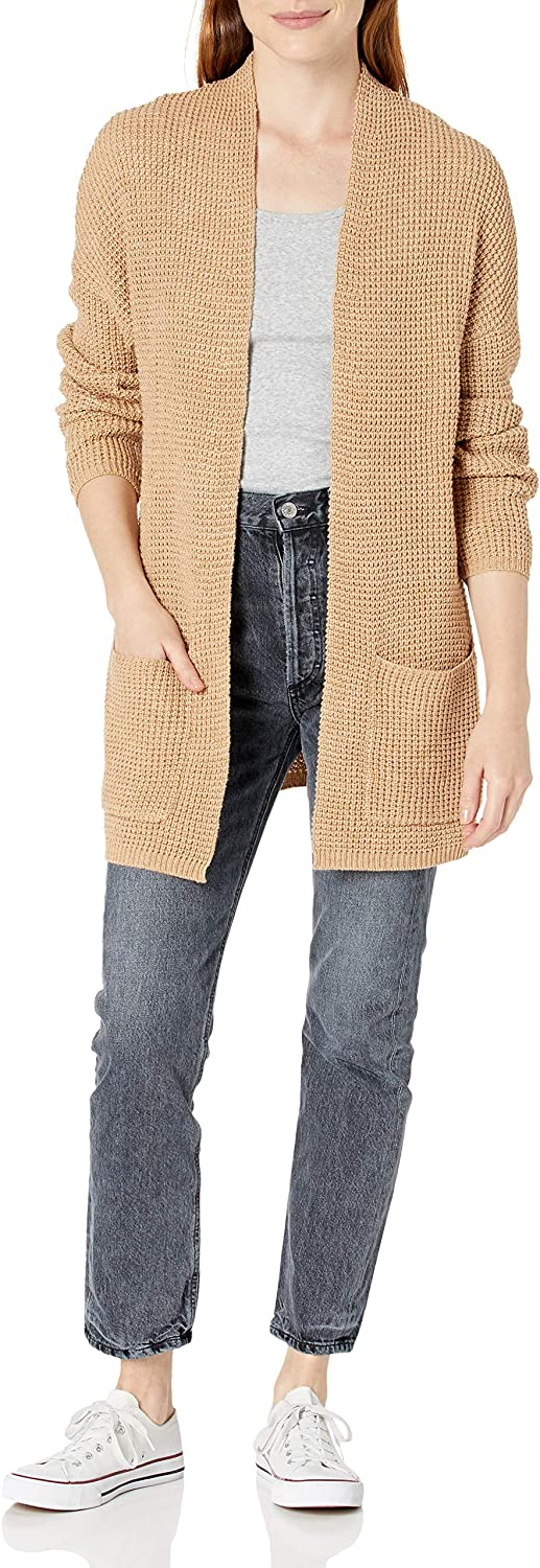 Cable Stitch Women's Open Front Waffle Stitch Cardigan