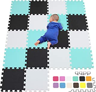 qqpp Alfombra Puzzle para Niños Bebe Infantil - Suelo de Goma EVA Suave. 18 Piezas (30*30*1cm), Blanco, Negro, Verde.QQC-ADHb18N