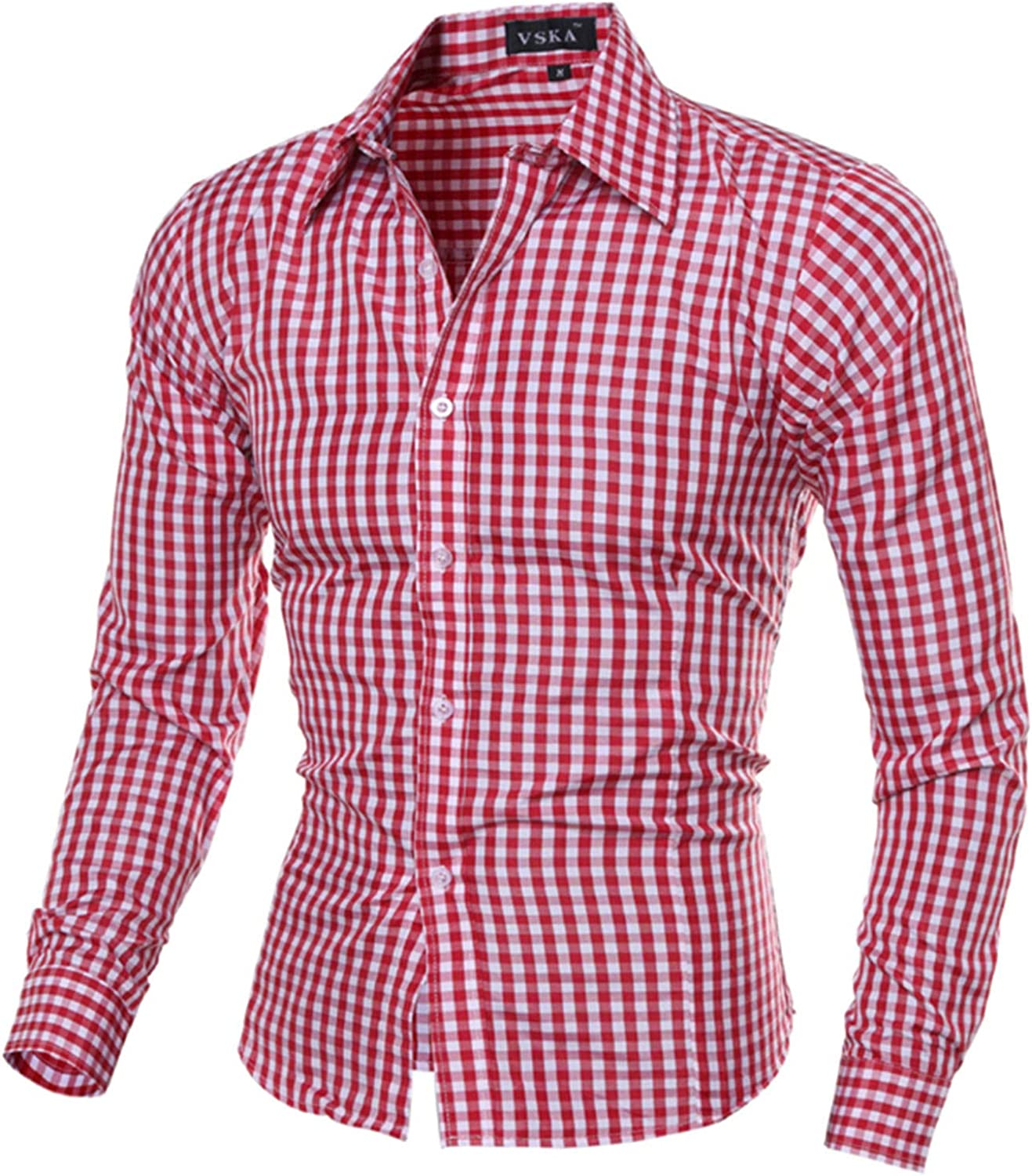 LEIYAN Mens Slim Fit Button Down Shirts Summer Long Sleeve for Business Work Stretch Casual Bottoming Shirt Tops