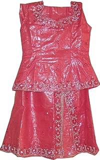 Apparelsonline Girls Shimmer Net Wedding Party Wear Lehanga Choli skirt Blouse