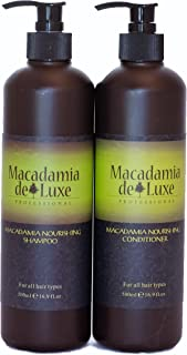 Macadamia Deluxe Professional Oil Shampoo and Conditioner Nourishing Moisturizing Ultra Hydrating Sulfate Free 100% Safe for Color Treated Hair, UV Protection, Bonus Size 2 x 16 oz, Pack of 2