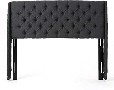Christopher Knight Home Lidia Wingback Tufted Fabric Headboard, Queen / Full, Dark Gray / Black