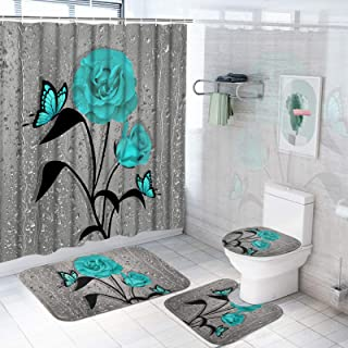 TAMOC 4 Pcs Teal Gray Rose Shower Curtain Sets with Non-Slip Rug, Toilet Lid Cover and Bath Mat, Blue Rose Shower Curtain ...