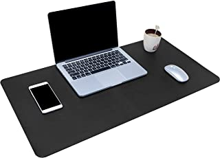 Dual-Sided Multifunctional Desk Pad, Waterproof Desk Blotter Protector, Leather Large Desk Wrting Mat Mouse Pad (31.5