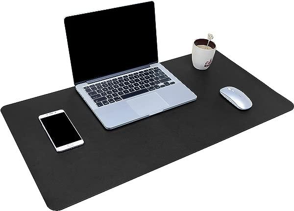 多功能办公桌垫 31 5X15 7 YSAGi 超薄防水 pu皮鼠标垫办公家用两用书桌写字垫 31 5X15 7 黑色