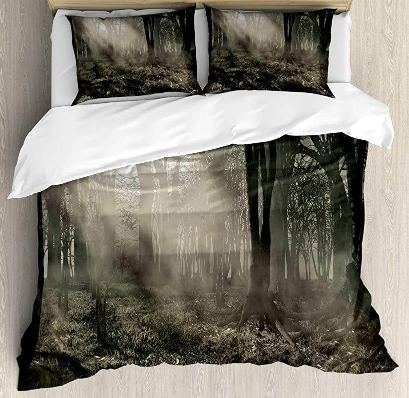Ambesonne Gothic Decor Duvet Cover Set, Photo of Dark Forest Scenery with Sunbeams Trees and Fog Vintage Nostalgic Colors in Fantasy Art Theme, 3 Piece Bedding Set with Pillow Shams, Queen/Full, Brown