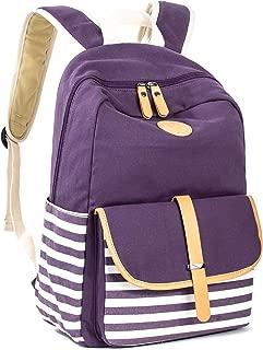 Leaper Canvas School Backpack for Girls Laptop Bag Shoulder Handbag Purple
