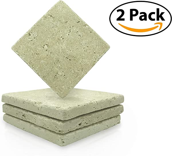 TWO PACK Absorbent Stone Coasters For Drinks Beverage Handcrafted Turkish Tumbled Travertine Absorbs Moisture And Condensation Protects Furniture From Spills No Scratch Cork Bottom