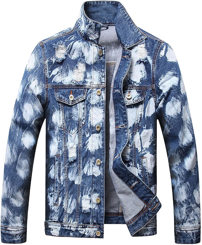 FORUU Denim Jacket Men 2021,Fall Winter Vintage Jeans Jacket Color Matching Hole Collar Pocket Denim Jacket Shirts
