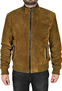 Men's Suede Leather Biker Jacket Khaki Green Classic Fashion Racer Jacket 4355