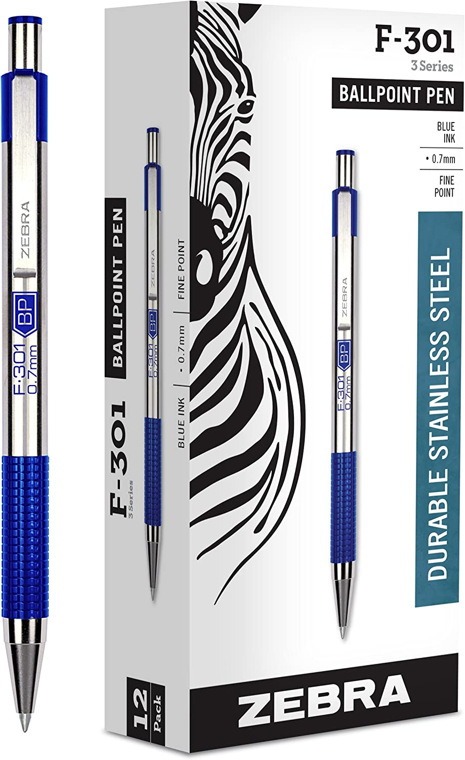 Fine Point Blue 12-Count Ballpoint Stainless Steel Retractable Pen 0.7mm