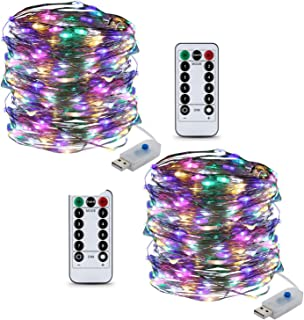 Tripop 33ft Copper Wire LED String Lights, USB Plug-in 8 Modes Twinkle Fairy Light with Remote (Multi-Colored)