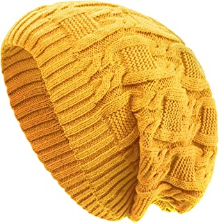 Unisex Trendy Beanie Warm Oversized Chunky Cable Knit Slouchy Woolen Hat
