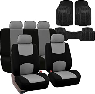 FH Group FB051115 Multi-Functional Flat Cloth Car Seat Covers, Gray/Black, Airbag Compatible and Split Bench with F11306 Vinyl Floor Mats-Fit Most Car, Truck, SUV, or Van