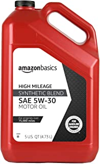 AmazonBasics High Mileage Motor Oil, Synthetic Blend, 5W-30, 5 Quart